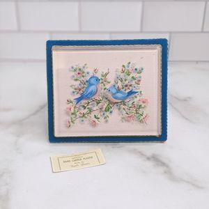 Retro vintage blue birds oil paint carved plastic